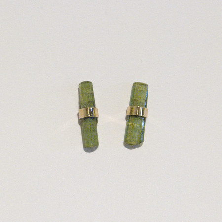 Better Late Than Never Crystal Bar Studs in 14k Gold - green tourmaline
