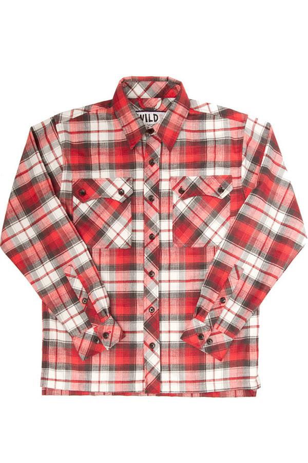 Men's Wild Outdoor Apparel WILD Lumberjack Flannel Red Plaid