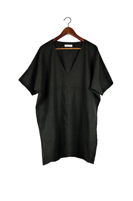 Rachel Craven Textiles Short V Neck Caftan - Black Linen