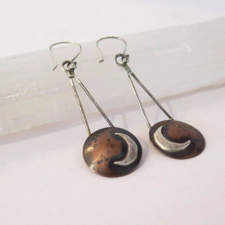 verdiblu Copper moon earrings
