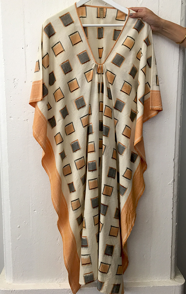 Two New York Pink with orange border caftan