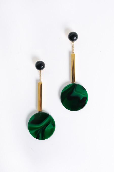 Rachel Comey Jo Drop Clip Earrings in Malachite
