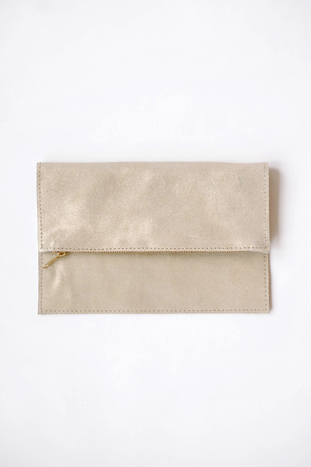 Sunday Supply Co. Champagne Suede Clutch