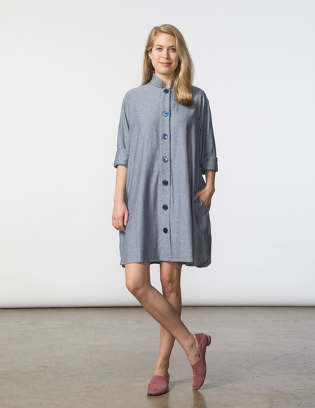SBJ Austin Stacey Dress - Blue/White Herringbone
