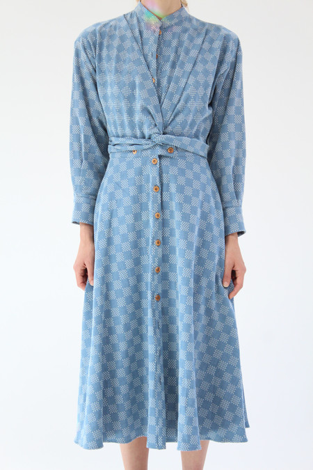 Heinui Jasper Dress Bleached Sashiko Embroidered Cotton