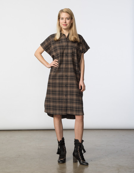 SBJ Austin R Dress - Brown/Black Plaid