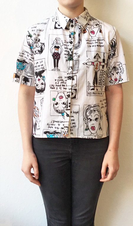 "One Imaginary Girl ""Out of Mousse"" S/S Boxy Printed Blouse"