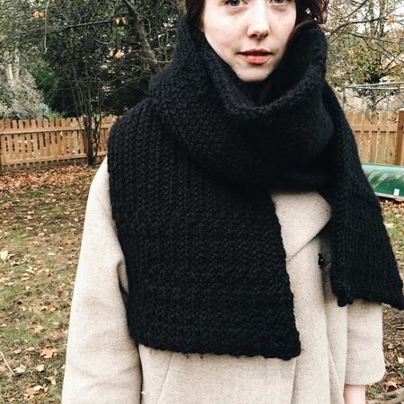 Byron & Blue Black Wool Blanket Scarf