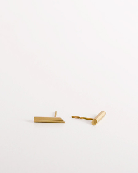 Knobbly Hexagonal Bar Earrings - 14k Gold
