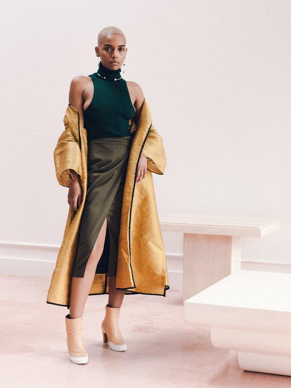 Alexa Stark gold silk jacket