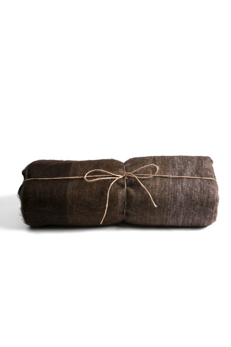 Carvieira Alpaca Blanket Chestnut Chocolate Stripe