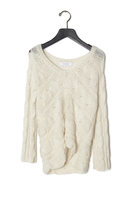 Ryan Roche V Neck Cable Sweater