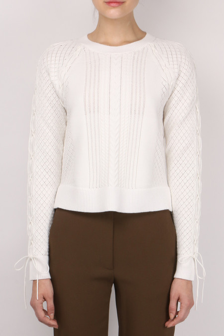 Jonathan Simkhai Lace Up Knit Crew Neck