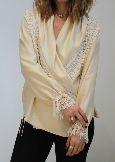 Hey Jude Vintage Nude Wrap Top with Lace Fringe