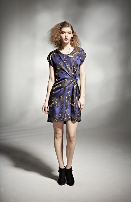 H. Fredriksson W 14 Blue Crinkle Twist Dress