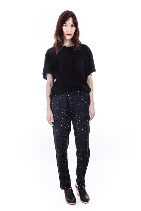 Ganni Clark Crepe Pants in Dotted Eclipse