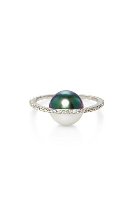 Nataf White/Black Pearl Saturn Diamond 14K Ring