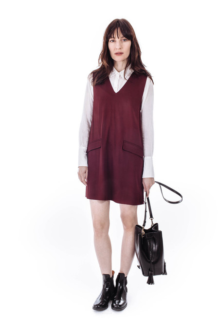 Ganni White Tailor Dress in Cabernet