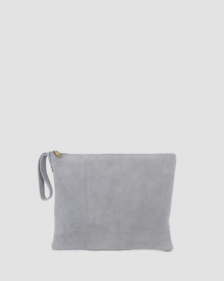 esby leather ESBY CLUTCH - GREY SUEDE