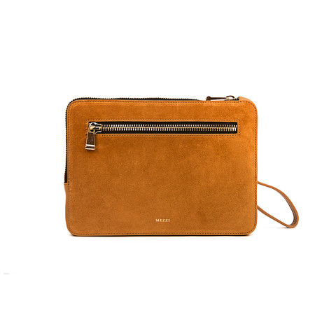 Mezzi 'Ameli' Suede/Leather Clutch with Strap