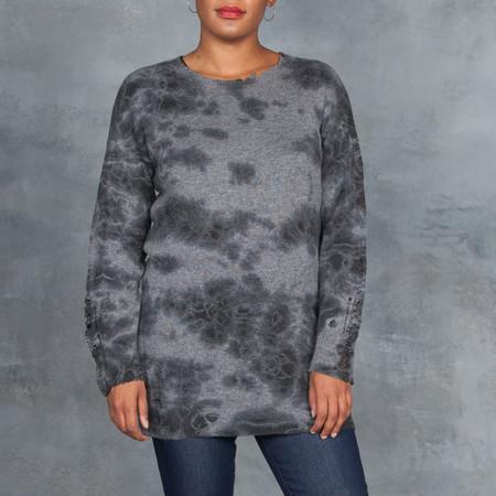 Raquel Allegra Dark Grey Shred Tie Dye Cashmere Sweater