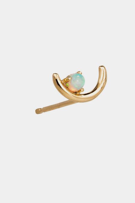 WWAKE 14K Gold Offset Opal Earrings