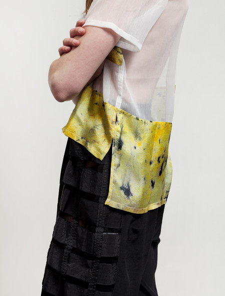 Christopher Raeburn Womens Panelled Silk T-Shirt Saffron