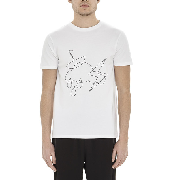 Men's HAN KJOBENHAVN White & Black Cloud & Umbrella T-Shirt