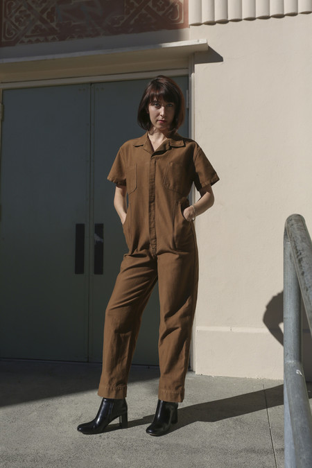 Caron Callahan Crawford Jumpsuit in Cognac Cotton Twill