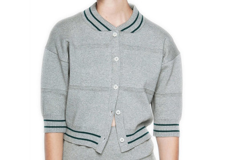 DIARTE CRIS GREY BOMBER COTTON CARDIGAN