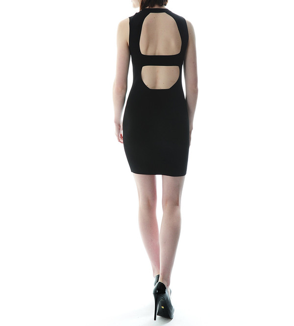 T By Alexander Wang Matt Viscose Nylon Knit Open Back Dress