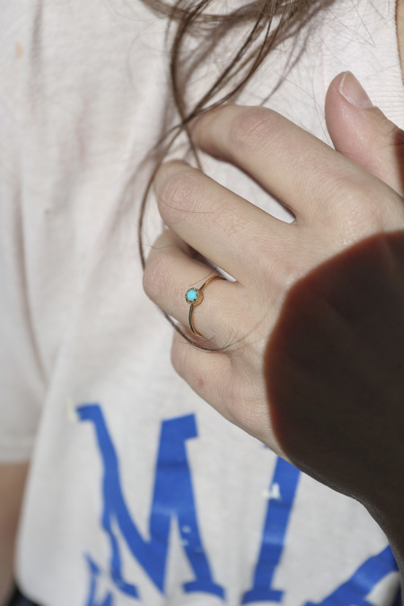 Grace Lee Petite Crown Bezel Turquoise Ring