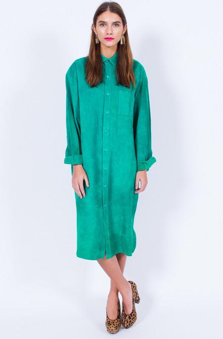 Yo Vintage! GREEN SUEDE DRESS (SMALL-MEDIUM)