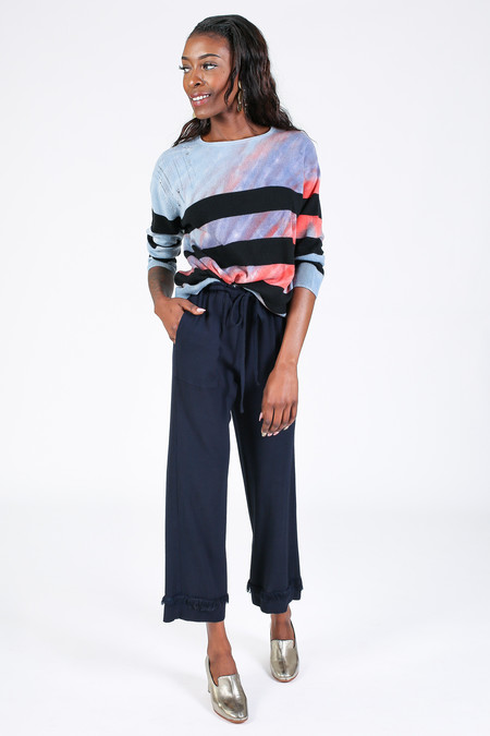Raquel Allegra Crop Sleeve Boxy Crew Sweater in Blue Sapphire