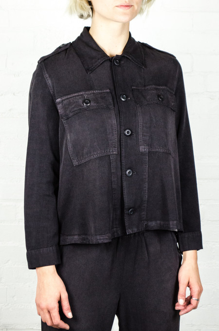AMO Washed Black Army Ruffle Army Shirt Jacket