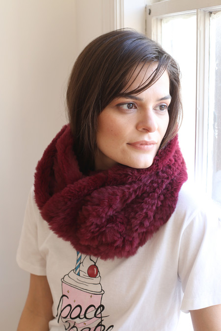 Jocelyn Sheared Rabbit Infinity Scarf
