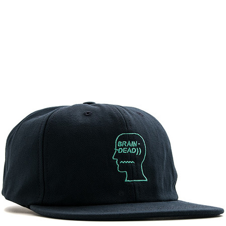 BRAIN DEAD HERRINGBONE LOGO HAT / NAVY