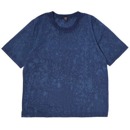 BRAIN DEAD MELTER HAND DYED WOVEN T-SHIRT / NAVY