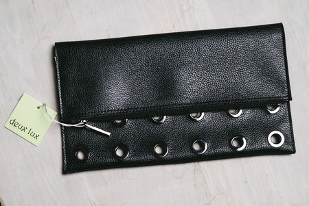 Deux Lux black rivet clutch