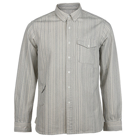 GARBSTORE BUTTON UP HEAVY TWO POCKET SHIRT STRIPED JAPANESE COTTON / ECRU