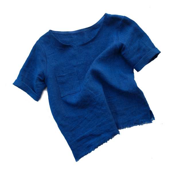 Kertis Indigo-Dyed Linen Box Top