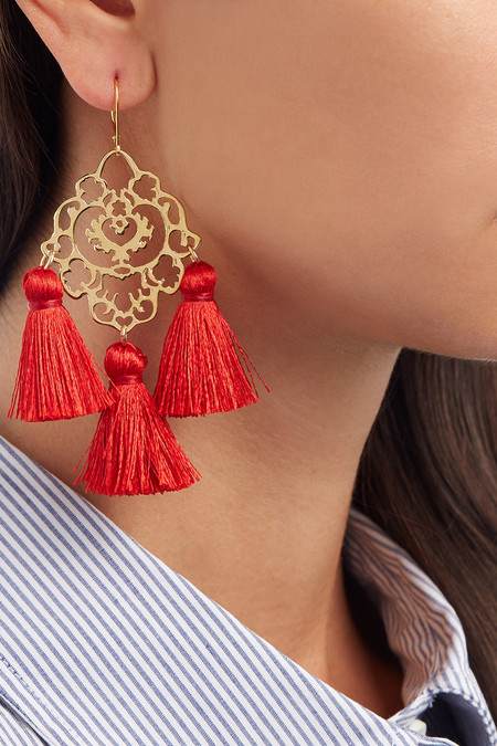 MARTE FRISNES RITA TASSEL EARRINGS - RED