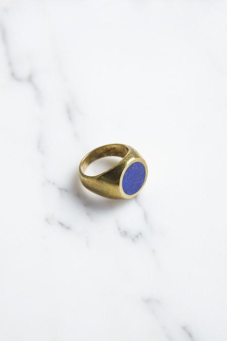 Legier Brass Round Signet Ring with Lapis Lazuli
