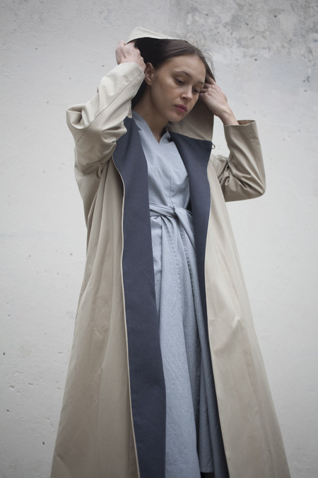 Cosmic Wonder Hooded Trench Coat in Natural