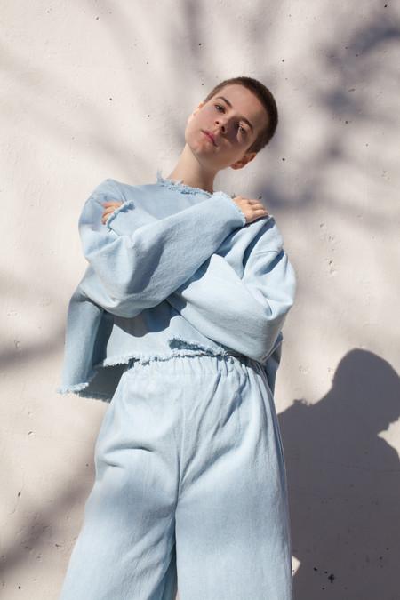 Ashley Rowe Long Sleeve Tee in Super Light Denim