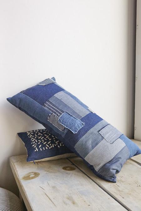 Thompson Street Studio Patchwork Rectangle Pillow in Indigo