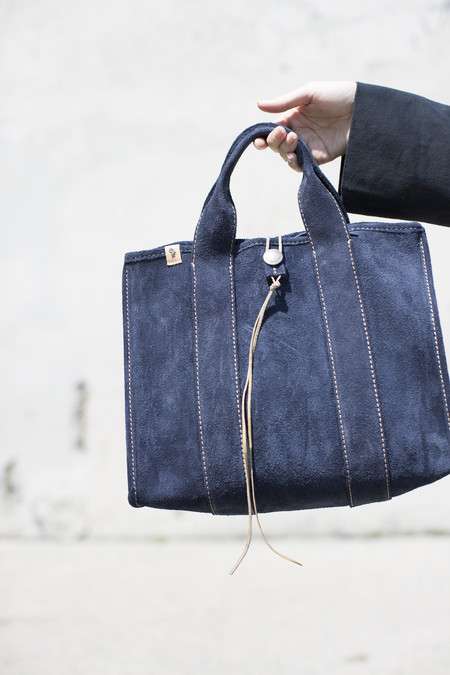 Visvim Teton Tote Bag in Navy Suede