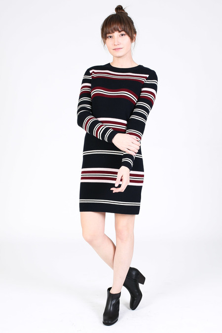 Chinti and Parker Rib Striped Dress in navy