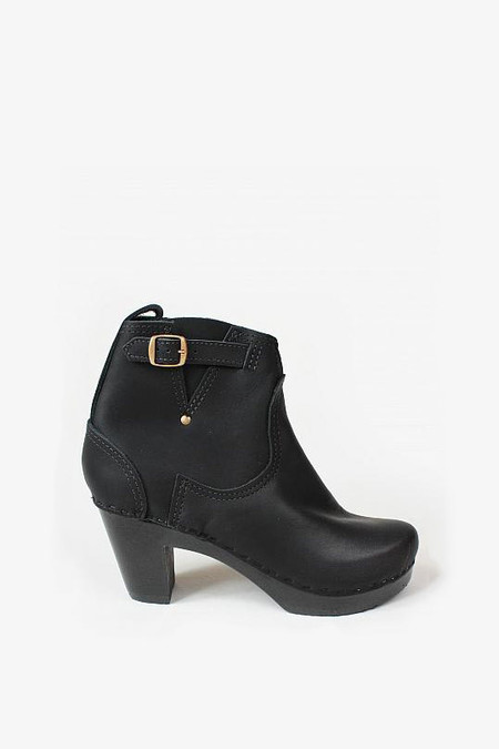 "No. 6 Shoes 5"" Buckle Boot in Black/Black"
