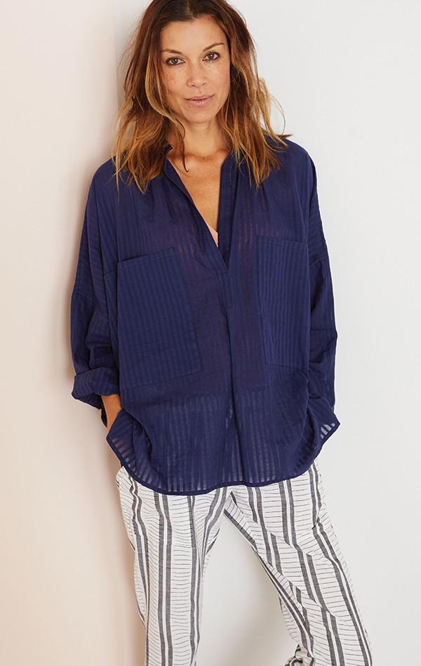 Two New York Khadi stripe Two Pocket Shirt